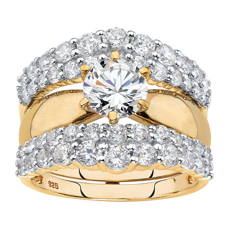 DiamonArt Womens 3 1/4 CT. T.W. White Cubic Zirconia 18K Gold Over Silver Bridal Set, 8 , No Color Family