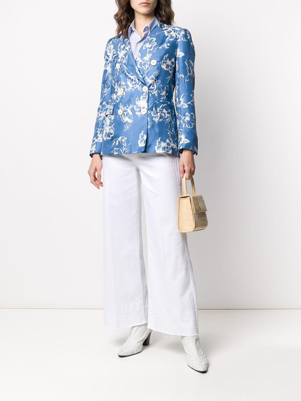 Silk Floral Print Blazer