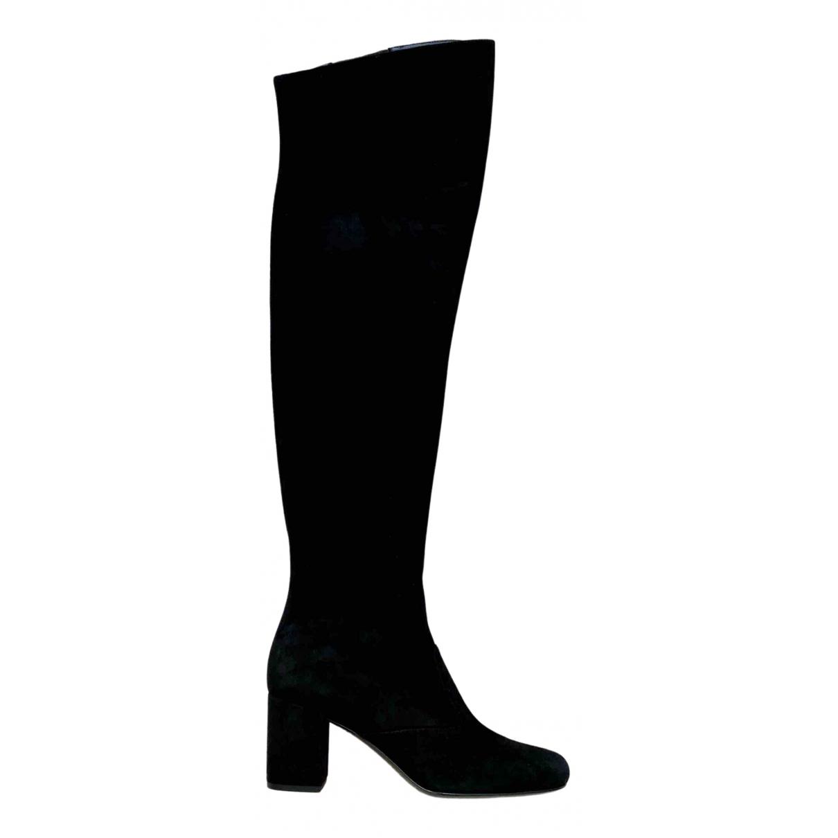 Saint Laurent \N Black Suede Boots for Women 37 EU