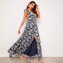 Rueckenfreies Kleid mit Raffung Detail, Schlitz und ueberallem Blumen Muster