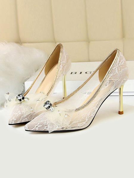 Milanoo Woman\s High Heels Pointed Toe Stiletto Heel Bows White Snakeskin Women Pumps