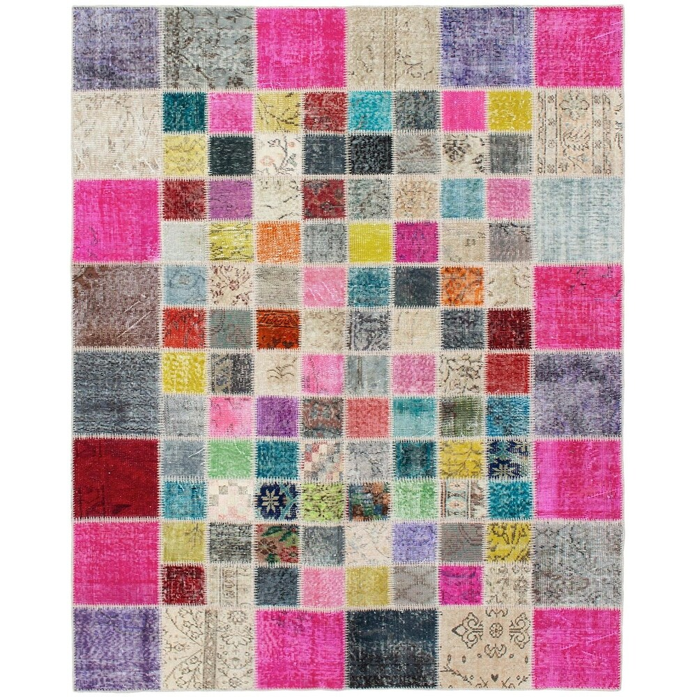 ECARPETGALLERY Hand-knotted Color Transition Patchwork Pink Wool Rug - 5'9 x 7'9 (Dark Pink - 5'9 x 7'9)