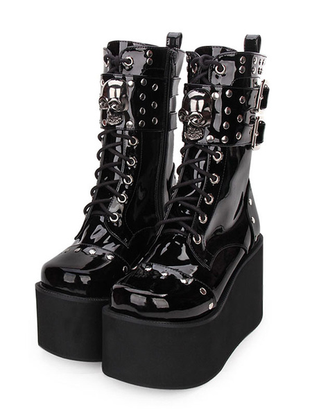 Milanoo Gothic Lolita Boots Metallic Buckle Rivet Lace Up Zipper Platform Black Lolita Footwear