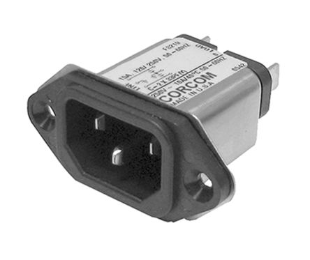 TE Connectivity ,15A,250 V ac Male Flange Mount IEC Filter 6609987-2,Spade None Fuse