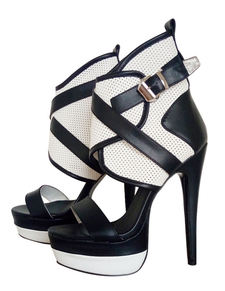 Milanoo Women Gladiator Sandals Two Tone Open Toe High Heel Sandals Sexy Shoes