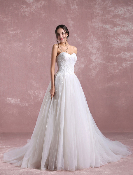 Milanoo Ivory Wedding Dress Sweetheart Strapless Bridal Dress Vine Lace A Line Bridal Gown With Chapel Train