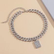 Halskette mit Strass und Geo Dekor