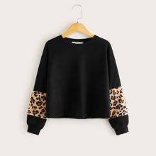 Girls Leopard Fleece Insert Pullover