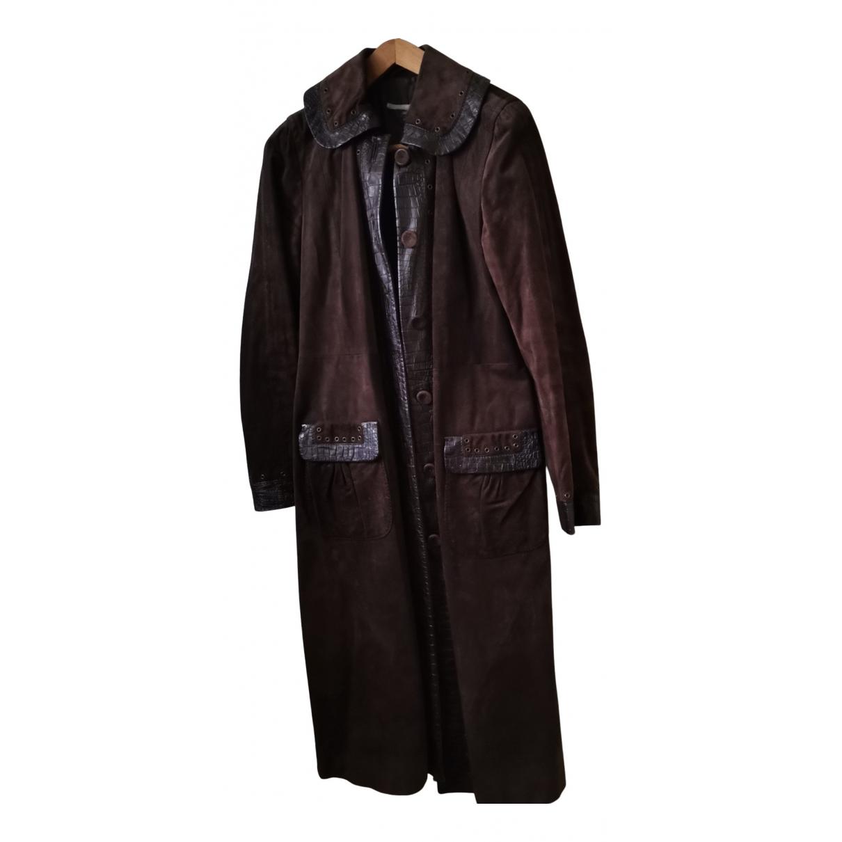 Max Mara - Manteau   pour femme en cuir - marron