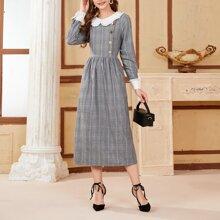 Kleid mit Kontrast Kragen, Knopfen Detail und Karo Muster