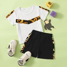 Toddler Boys Baroque Print Colorblock Tee & Shorts