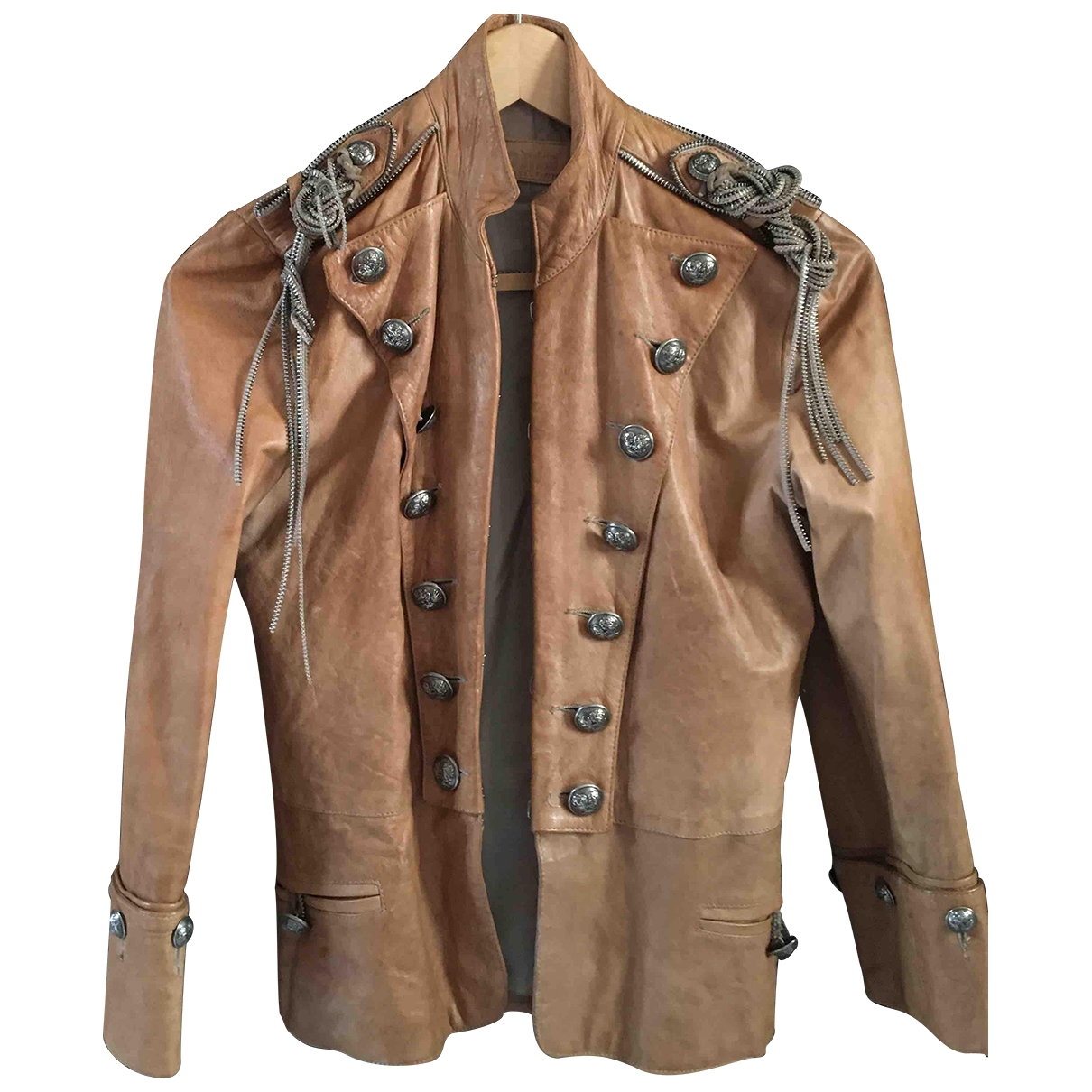 Non Signé / Unsigned \N Camel Leather Leather jacket for Women S International
