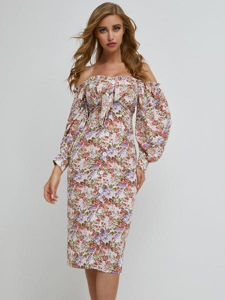 Milanoo Women\'s Bodycon Dresses White Floral Print Bateau Neck Bohemian Long Sleeves Pencil Dress