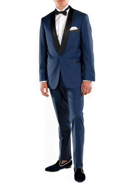 Men's Shawl Lapel 2 Piece Single Breasted Slim Fit Blue Tuxedo Suit