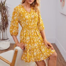 Frill Trim Button Front Floral Smock Dress