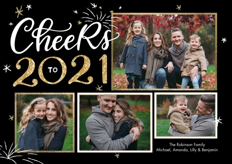 New Years Photo Cards 5x7 Cards, Premium Cardstock 120lb with Scalloped Corners, Card & Stationery -New Year 2021 Cheers Snapshots by Tumbalina