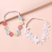2 Stuecke Baby Haarband mit Blumen Dekor
