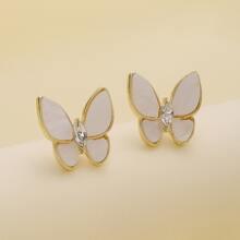 Pendientes con mariposa con piedra preciosa