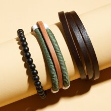 3 Stuecke Maenner Armband mit Perlen Dekor