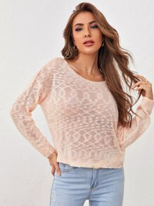 V-back Twist Sheer Sweater