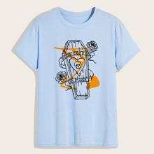 T-Shirt mit Sarg und Blumen Muster