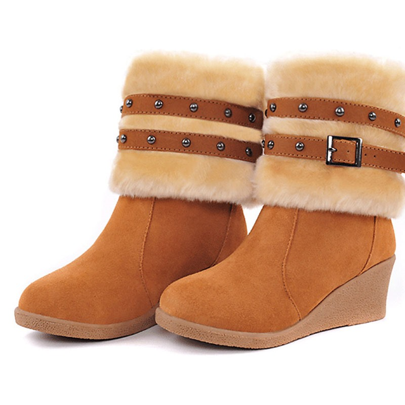 Ericdress Wedge Heel Patchwork Round Toe Plush Boots