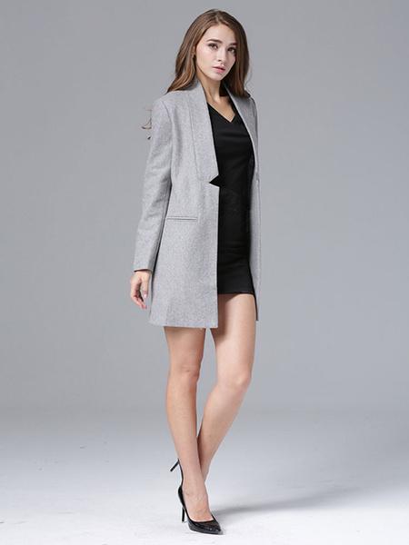 Milanoo Abrigo de mezclada de lana con escote vertical Color liso con bolsillos estilo moderno