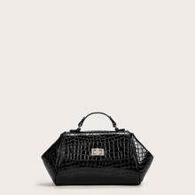 Twist Lock Croc Embossed Satchel Bag