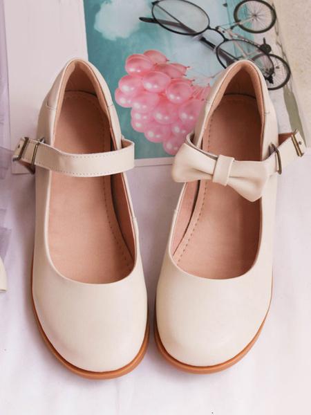 Milanoo Sweet Lolita Mary Jane Shoes Bow Round Toe PU Lolita Pump
