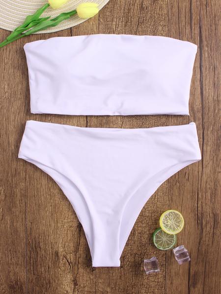Yoins White Sexy Basic Strapless Bikini set