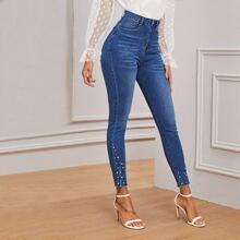 Schmale Jeans mit Perlen