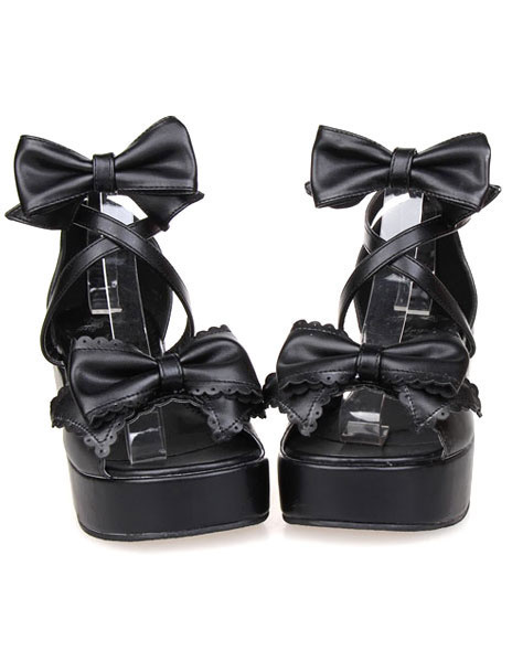 Milanoo Black Bows Decor Lolita Shoes