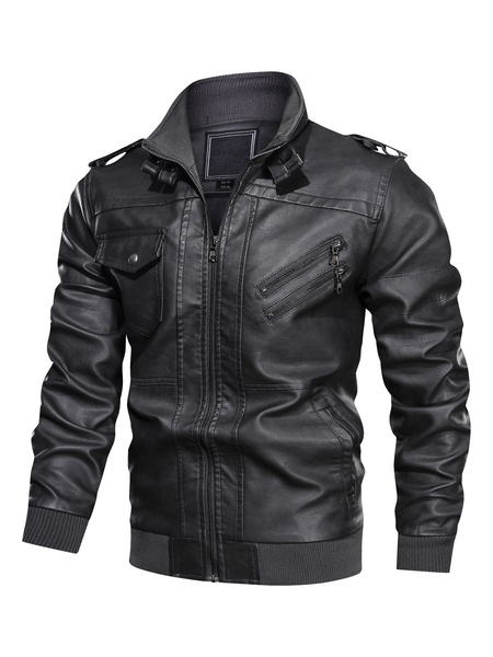 Milanoo Men\s Leather Jackets Zippered Ribbed Biker Jakcet