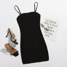 Rib-knit Solid Bodycon Dress
