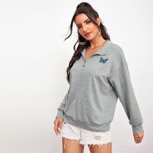 Drop Shoulder Zip Up Butterfly Embroidery Sweatshirt