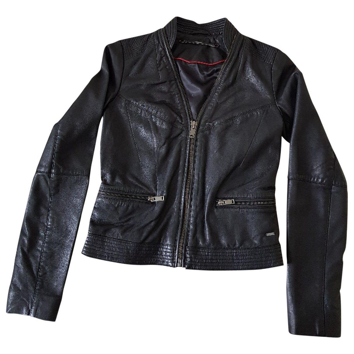 Ikks \N Black Leather Leather jacket for Women 36 FR