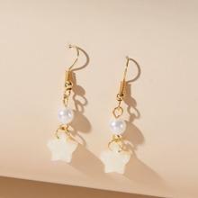 1pair Faux Pearl & Star Drop Earrings