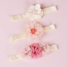 3 Stuecke Maedchen Haarband mit Blumen Dekor