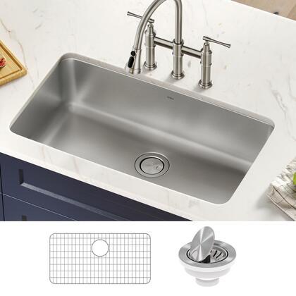 Dex Collection KA1US33B 33 Undermount 16 Gauge Antibacterial Stainless Steel Single Bowl Kitchen