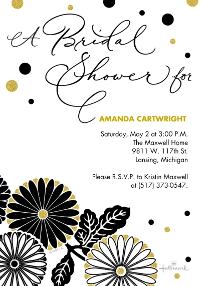 Wedding Shower Invites 5x7 Cards, Premium Cardstock 120lb with Elegant Corners, Card & Stationery -Sophisticated Dots and Floral