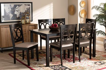 Lenoir Collection RH315C-SAND/DARKBROWN-7PCDININGSET 7 Piece Dining Set with Polyeter Fabric Upholstery  Contemporary Style and Rubberwood Frame