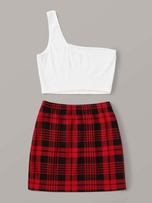 Plus One Shoulder Top and Plaid Skirt Set