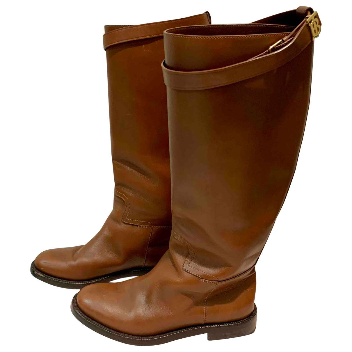 Burberry N Camel Leather Boots for Women 38 EU