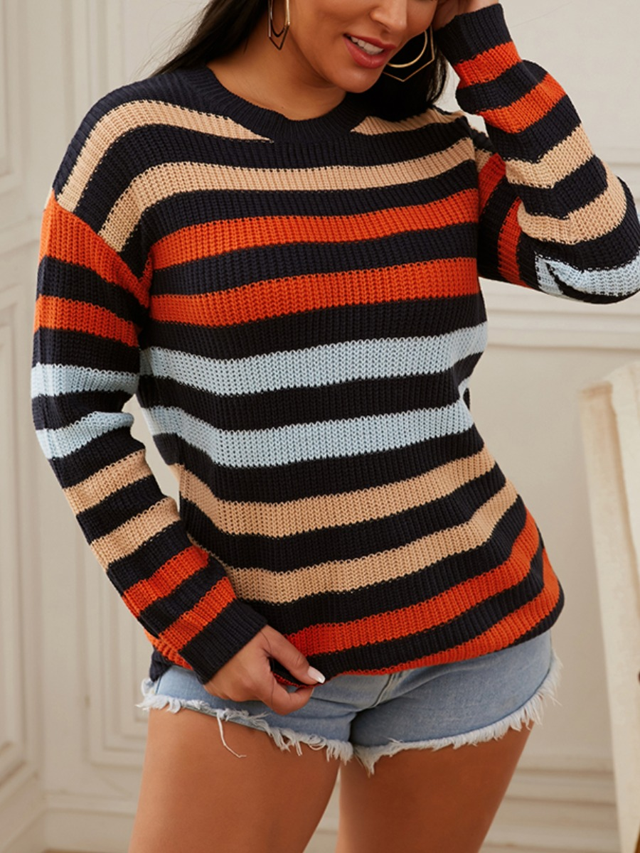 LW lovely Trendy O Neck Rainbow Striped Multicolor Sweater