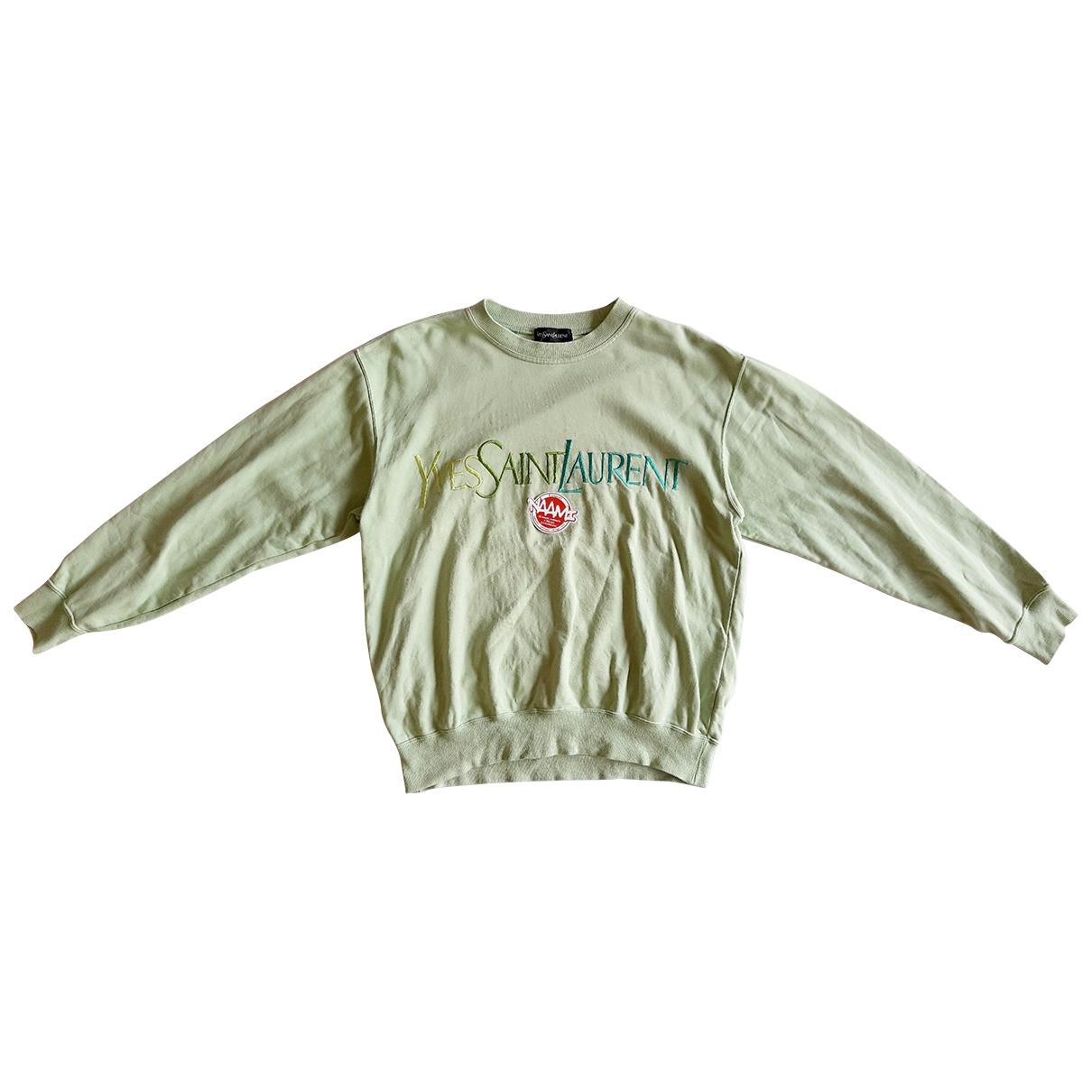 Yves Saint Laurent \N Pullover.Westen.Sweatshirts  in  Gruen Baumwolle