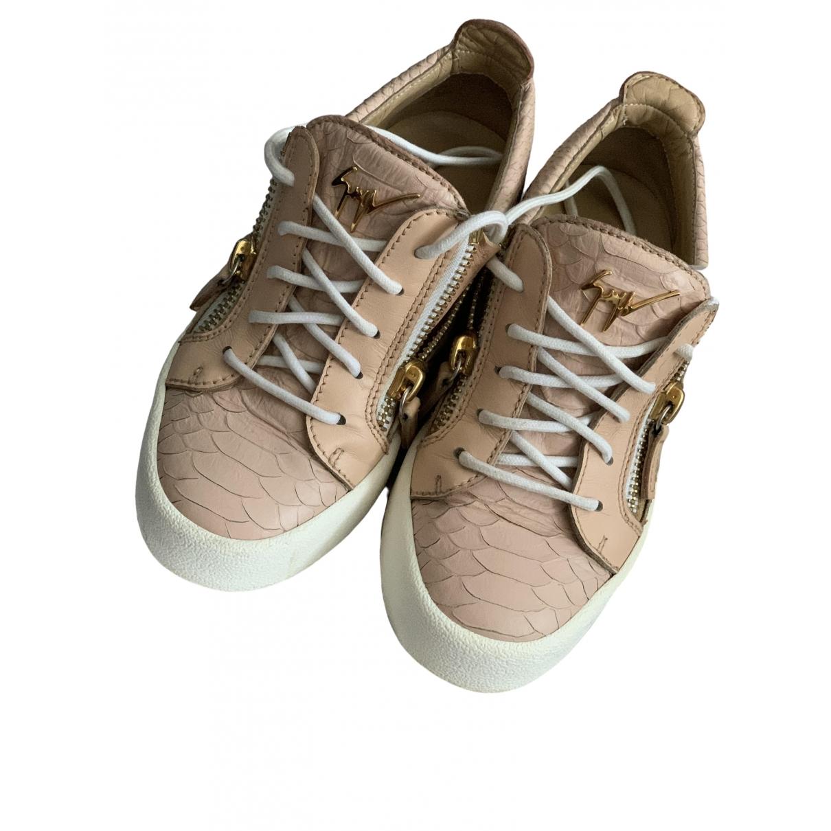 Giuseppe Zanotti \N Sneakers in  Rosa Leder