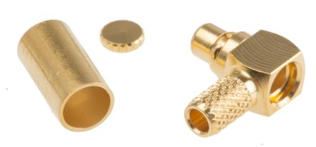 Telegartner Right Angle 50Ω Cable Mount Coaxial Connector, Plug, Nickel over Gold, Crimp Termination, RG174/U, RG188