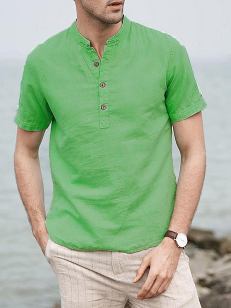 Ericdress Stand Collar Plain Slim Summer Shirt