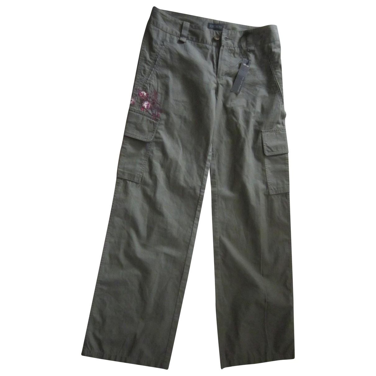 Ikks \N Green Cotton Trousers for Women 38 FR