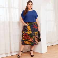 Plus Dolman Sleeve Top and Pocket Front Tropical Skirt Set